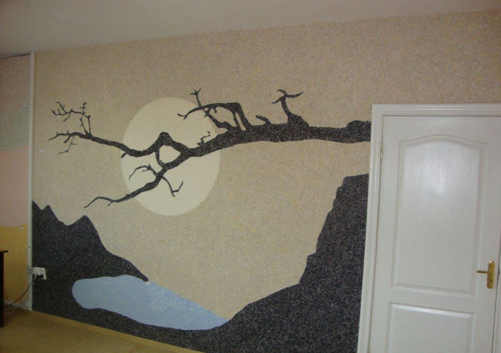 Дизайн стен при помощи жидких обоев