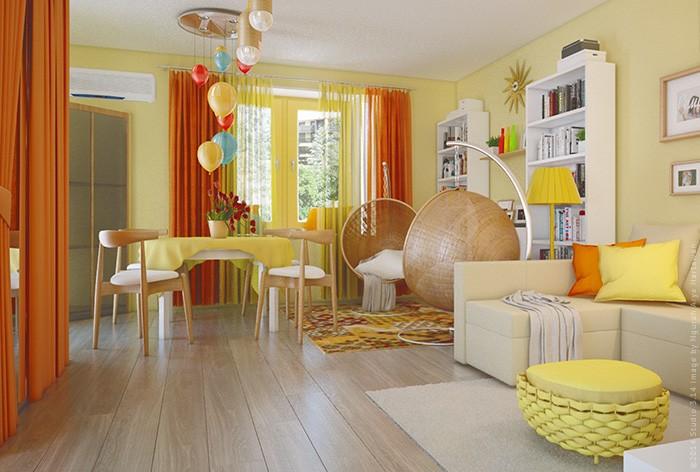 Солнечный дизайн гостиной
