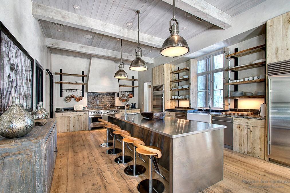 Металлическая кухонная мебель в интерьере